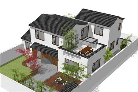 带露台的农村二层别墅设计效果图,传统与现代的融合!