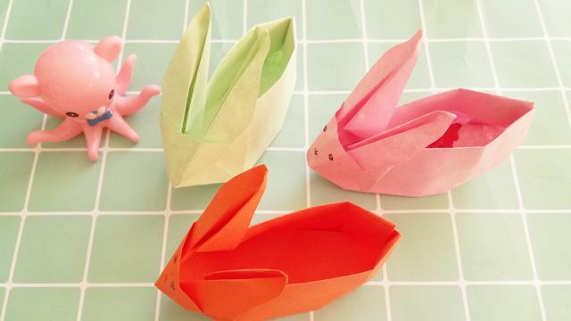 手折呆萌可爱的小兔子收纳盒,好看又实用,小朋友们都喜欢