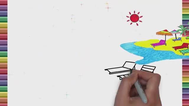 儿童大海沙滩画设计素材下载_儿童大海沙滩画模板下载_红动手机版