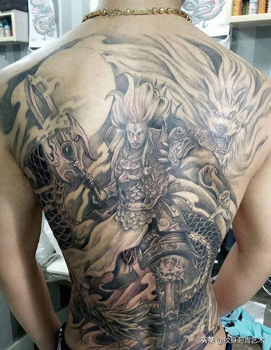 杨戬花臂线条纹身手稿