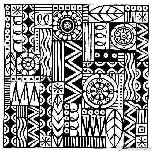 四方连续纹样黑白简单