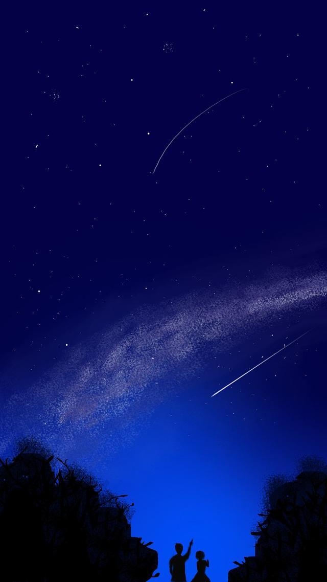 「星空壁纸」看星星一颗两颗三颗四颗连成线,最美是你的陪伴