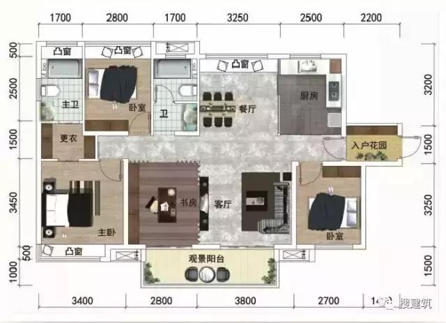 绿地的125㎡四房轻奢户型,并首创42㎡三房、52㎡四房