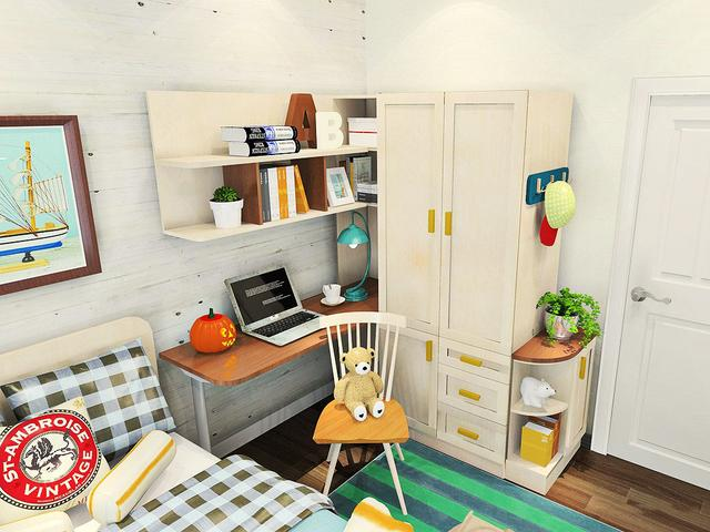 卧室窗台书桌书柜设计