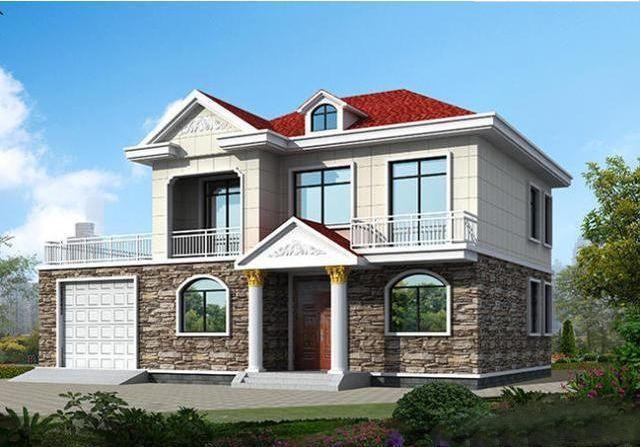 现代新中式乡村自建房平顶二层房屋 9x11 ... - 百安居工程造价[]