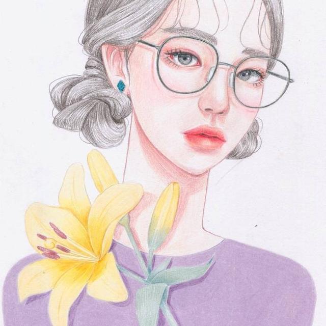 彩铅画二次元少女