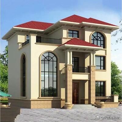面宽在10~11米左右的三层带大客厅的自建房别墅设计图