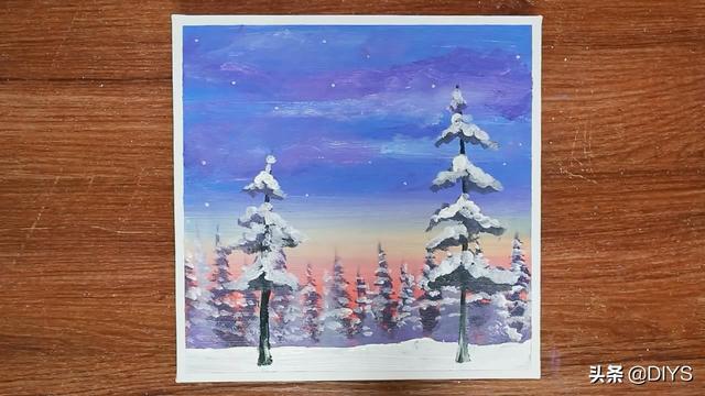 简单画一幅冬天的图画