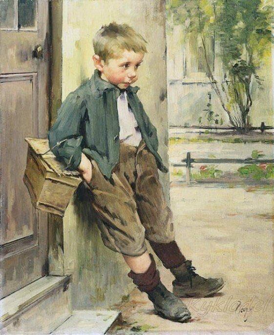 儿童油画棒风景画,简单有步骤的少儿美术,让孩子画一画