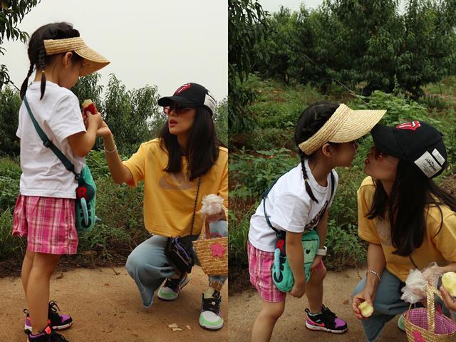 章子怡汪峰带女儿摘桃子,亲近大自然好惬意,母女俩亲亲超有爱