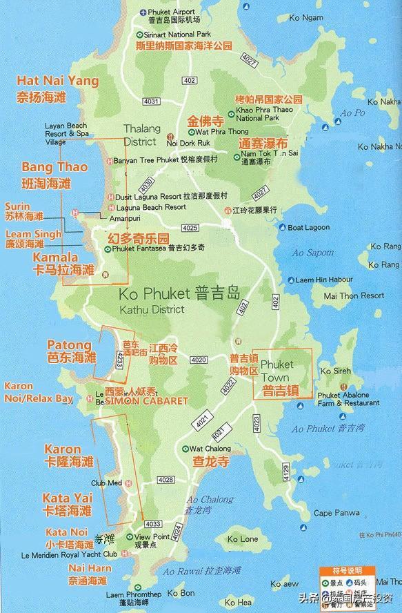 泰国普吉岛地图(英文)_泰国地图库_地图窝