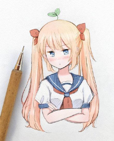 二次元女孩铅笔画_学习啦在线学习网