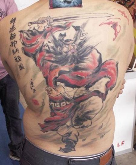 满背钟馗纹身手稿
