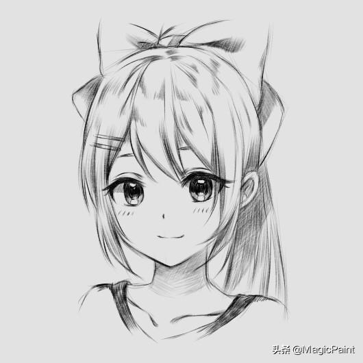 动漫人物素描可爱简单,动漫人物手绘教学 铅笔风格动漫马尾辫女孩 萌萌的样子很可爱