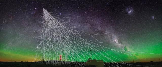 来自宇宙射线的一些高能粒子进入地球大气层时