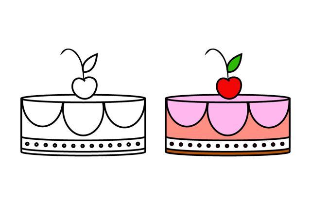 簡筆畫蛋糕 漂亮的生日蛋糕素材,簡單又好學