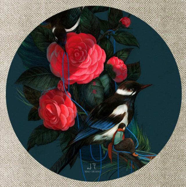 精美的10种植物为题的古风创意花鸟圆形扇面绘画作品欣赏(藏)