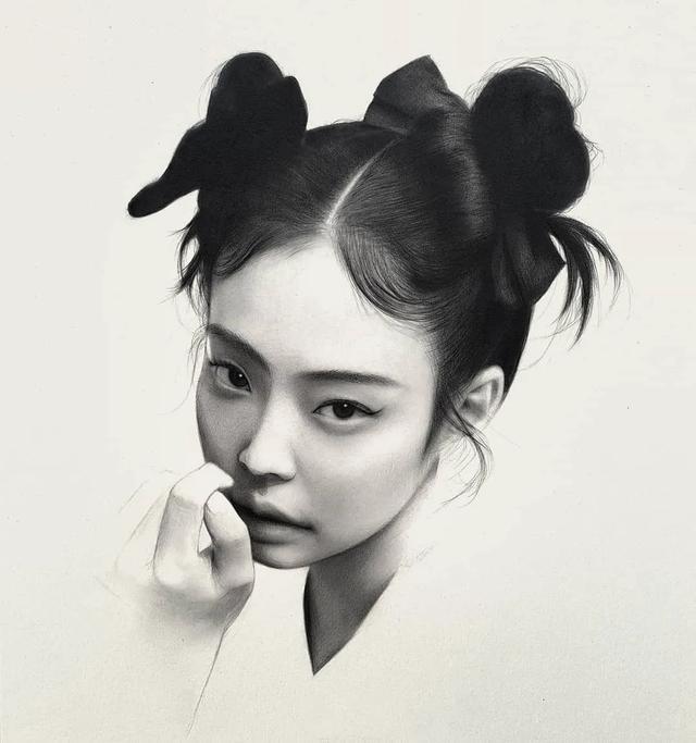 韩国画师超写实的人物头像作品,这逼真程度,服