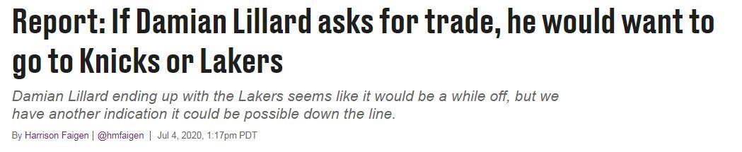 美媒曝Lillard考慮加盟湖人!4年1.96億比詹皇還貴,紫金軍團豪賭3巨頭?-黑特籃球-NBA新聞影音圖片分享社區