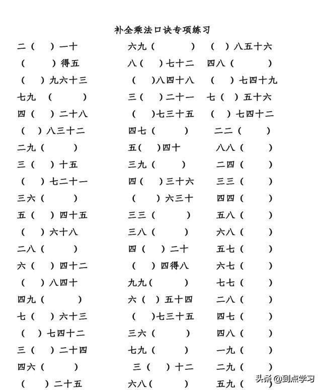 乘法口诀表最快记法