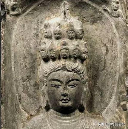 七世纪唐代石雕:十一面石雕观音菩萨立像欣赏