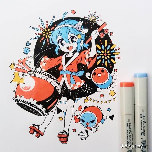卡通简笔画美少女绘画_可可