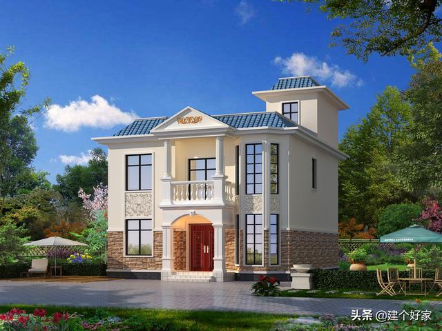 造价10万占地80平方米二层农村自建房效果图和平面布局图