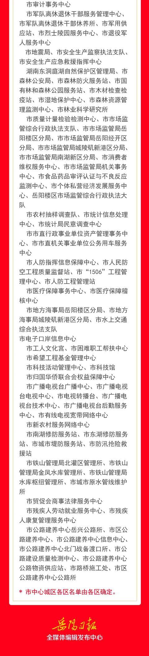 """岳阳中心城区哪些单位试行""""朝九晚五""""?名单来了"""