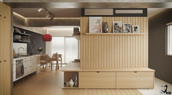 106平原木风三室两厅,大白墙搭配大量原木元素,自然又温馨