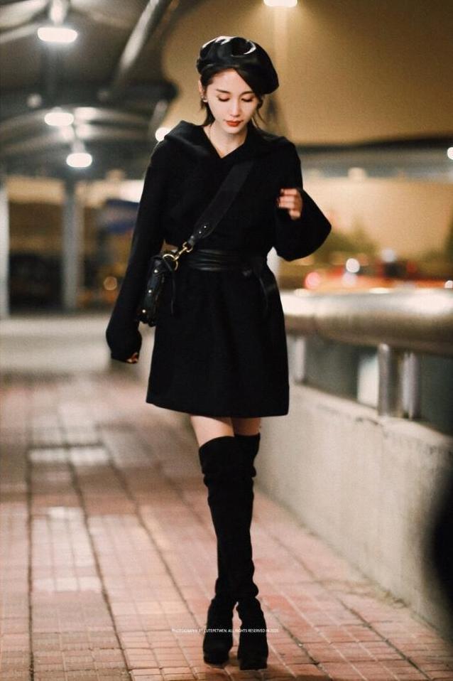 冬天矮个子女生穿衣图