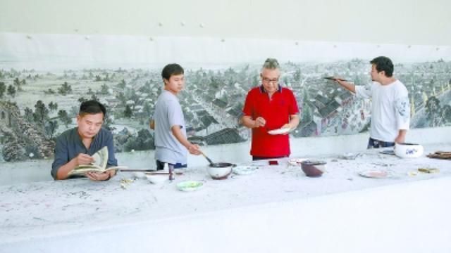四位画家联手创作百米长卷 描绘张家湾千年传奇