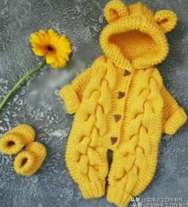 小熊连体衣编织图解