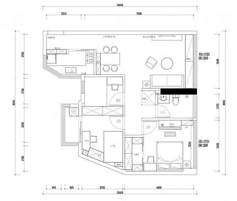 86㎡挤出三房,还有衣帽间!客厅贴满瓷砖,完工后很大气
