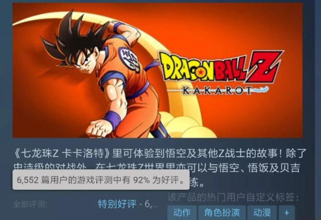 龙珠Z:卡卡罗特 Steam好评71% Steam 游戏资讯 第3张