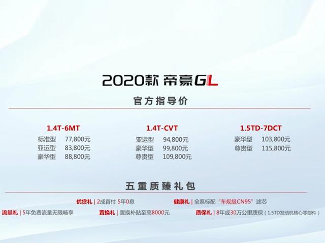 小改款却采用最新设计语言很厚道 2020款帝豪GL售7.78万起