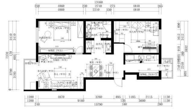 两室两厅两卫平面图