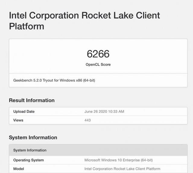 8核16线程Rocket Lake处理器跑分曝光:OpenCL成绩令人失望