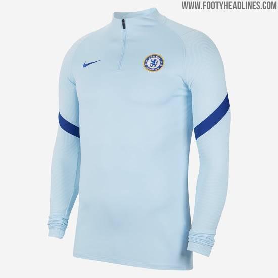 切尔西20-21赛季训练服曝光,天蓝与海军蓝为主色调