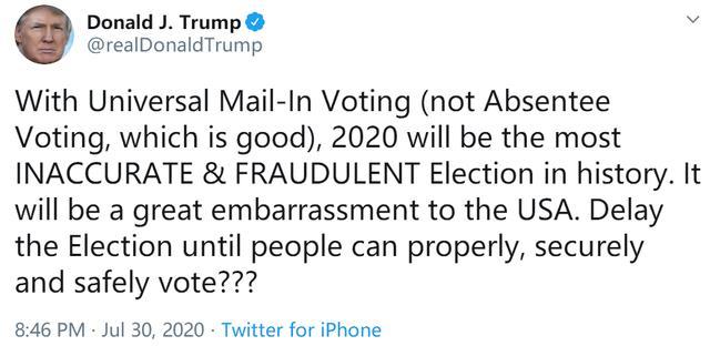 特朗普推特发推文建议推迟美国2020年大选