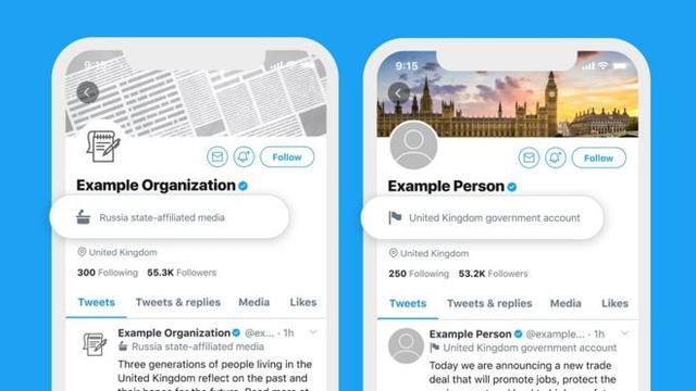 推特网将给国家控制的新闻账户贴上标签