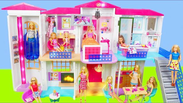 超级趣味玩具屋:芭比娃娃粉色梦想家园过家家故事