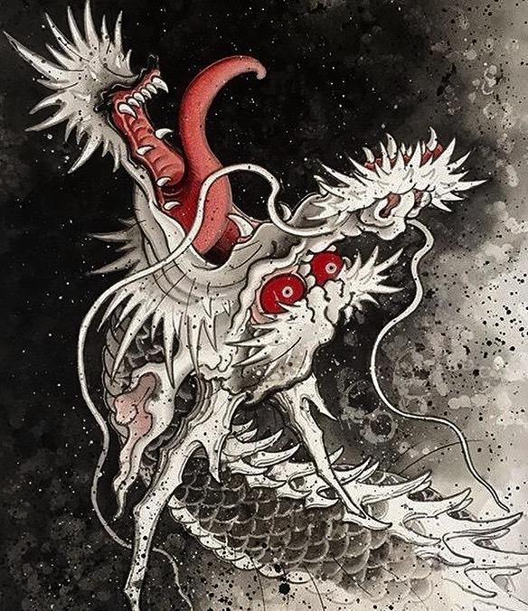 龙纹身手稿素材