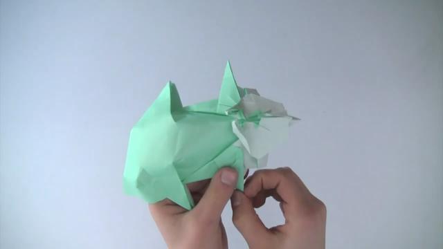 三角插折纸作品教程龙
