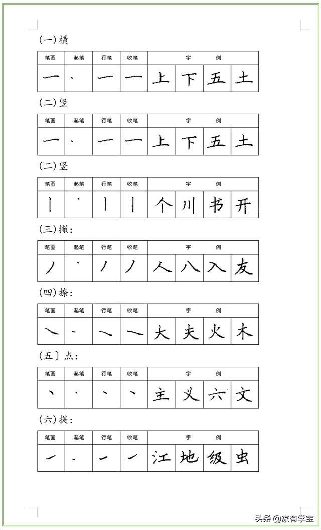 基本笔画表田字格图片