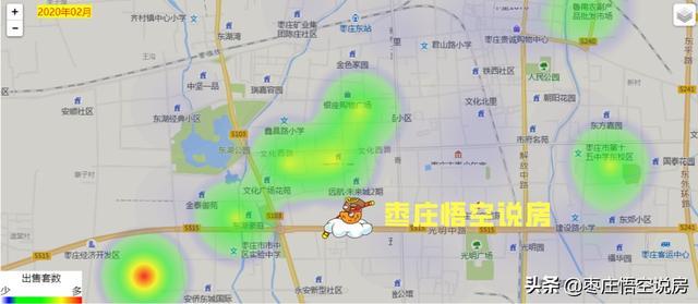 二月份,枣庄五区一市买房热力图,购房基本以学区房为主。