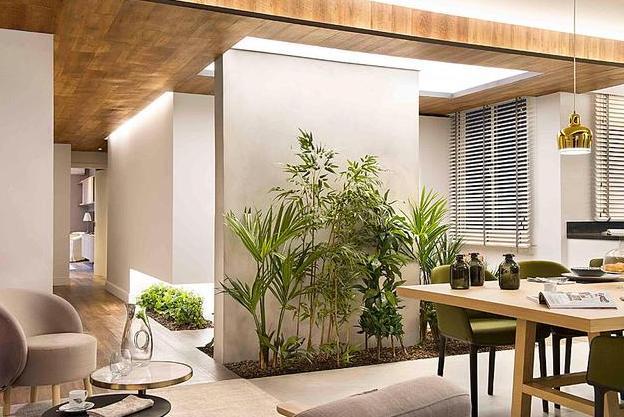 爆改195㎡大户型装修,餐厅旁边还挖空做花园,设计太有创意了