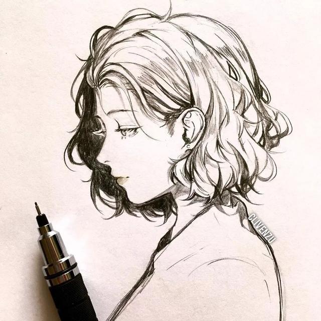 动漫女生图片黑白 手绘图片,干货 超有感觉的动漫美少女线描