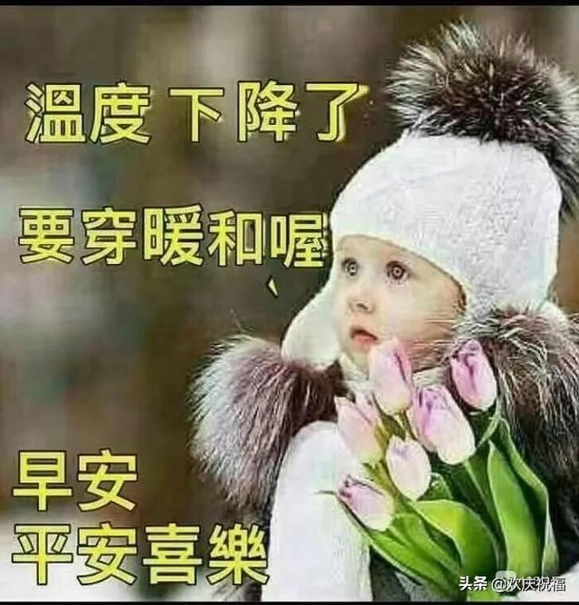冬季寒冷天气降温早上好温馨祝福语,暖心的早安问候图片带字