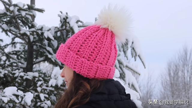 新手入门级钩针女帽,轻松钩出一款漂亮的帽子,简单易学保暖实用