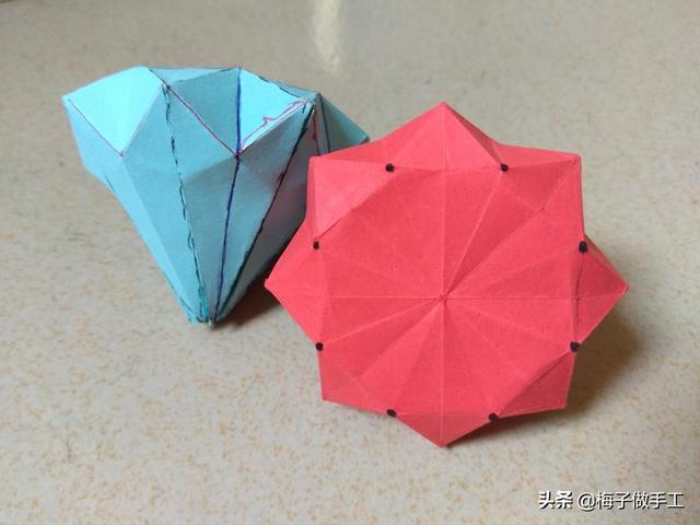 幼儿手工折纸,很简单的,钻石手工折纸